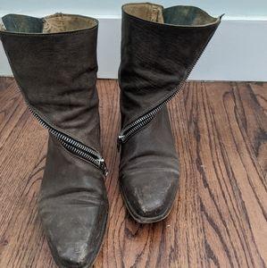 John Fluevog brown asymmetrical zip bootie